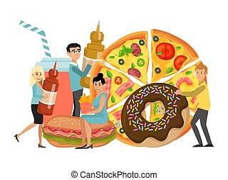 Junk food eating, concept tiny character bad dish, hamburger donuts soda and pizza isolated on white, flat vector illustration. Garbage morbid meal, dangerous unhealthy eatables, street fast food.