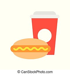 junk food hot dog and soda, food and gastronomy set, flat icon