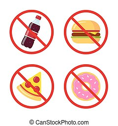 No junk food icons: sugary soda drink, burger, pizza and donut. Crossed prohibition circles on separate layer. Healthy dietary habits vector illustration.
