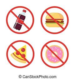Junk food icons - No junk food icons: sugary soda drink,...