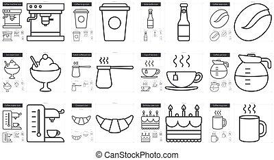 Junk food line icon set. - Junk food vector line icon set...