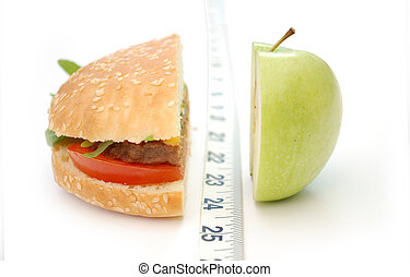 Burger and apple with a tape measure in the middle creating a dividing line