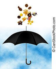 Junk food over umbrella