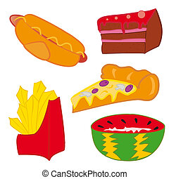 Junk Food - Pizza and hot dog with fries as symbol of...