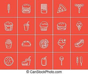 Junk food sketch icon set.