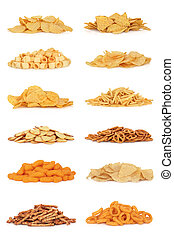 Junk food snack collection, isolated over white background.