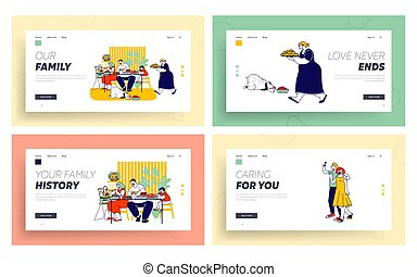 Junk Food Website Landing Page Set. Family Eating Products...