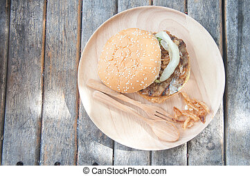 Junk food yummy Meat hamburger