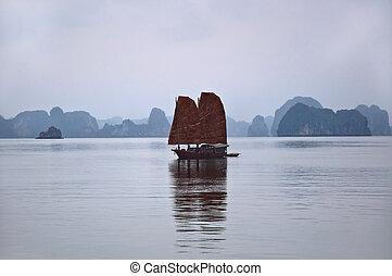 Junk, Halong Bay - Traditional junk at Halong Bay, Vietnam,...