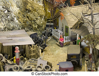 My Dad built every single part of this little town by hand. Board by board for the buildings rock trees etc. Fine Detail. He was one of the best. You would be hard pressed to find any better model rail road photos on the internet including the high dollar stuff