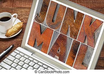 junk mail on laptop screen - junk mail - text in letterpress...