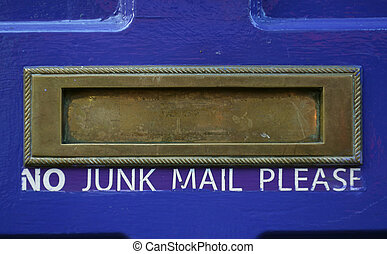 Junk mail slot - Mail slot on a house door with No Junk Mail...