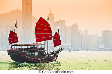 Junk Ship in Hong Kong - Junk Ship sails in Victoria Harbor...