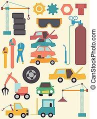 Junk Yard Elements Illustration - Illustration of Junkyard...