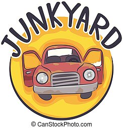 Junk Yard Icon Illustration - Illustration of a Junkyard...