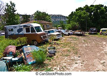 junk yard, met, oud, mooi, oldtimers