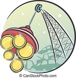 Junk Yard Money Illustration - Illustration of a Crane...