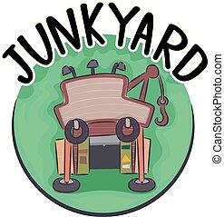 junkyard, abbildung, ikone