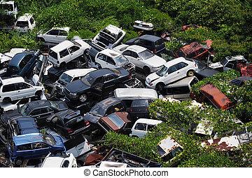 junkyard car - old cars in the junkyard