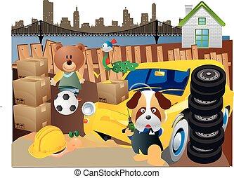 Junkyard Dogs At Play - Junkyard Dogs playing in alley