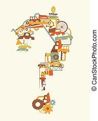 junkyard, domanda, illustrazione, marchio