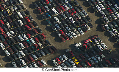 Junkyard Rows - Aerial - Aerial view of old cars in a ...