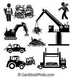 Pictogram showing abandoned cars in a junkyard with various vehicles and machinery recycling the automobiles.