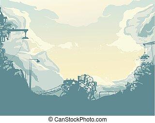 junkyard, silhouette, fond, illustration