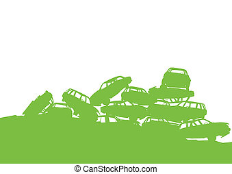 Junkyard, waste, dump green ecology background concept waste management and sorting for poster