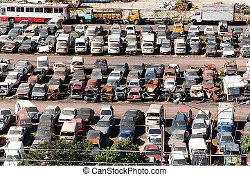 Junkyard with abandoned vehicles - Junkyard with cars ...