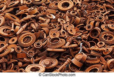 Junkyard with rusty machinery parts