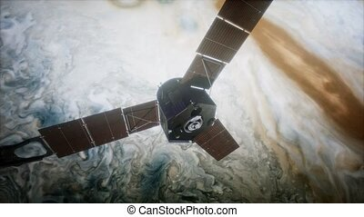 Juno sattelite orbiting Jupiter. Elements of this image...