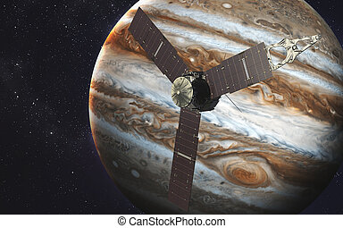 Juno spacecraft and Jupiter. Elements of this image furnished by NASA