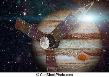 Juno spacecraft and Jupiter.