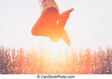 junping, ευτυχισμένος , ηλιοβασίλεμα , άνθρωποι