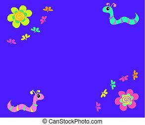 junta mensagem, com, flores, e, vermes