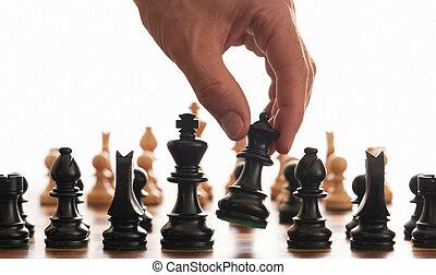 junta xadrez, e, mão