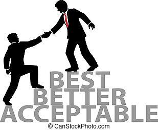 juntar, ajuda, pessoas negócio, cima, melhor