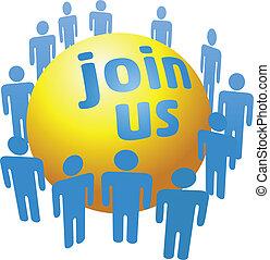 juntar, companhia, pessoas, grupo, social
