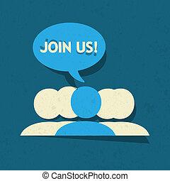 juntar, nós, social, mídia, grupo