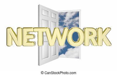 juntar, rede, pessoas, porta, ilustração, novo, grupo, 3d, abertos, encontre