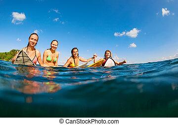 juntas rebentação, sentando, foto, meninas, surfista, feliz