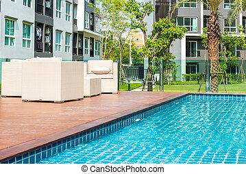 junte lado, lounges, natação