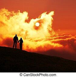 junte pôr-do-sol