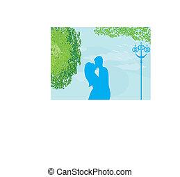 junte pôr-do-sol, ilustração, fundo, parque, beijando, vetorial