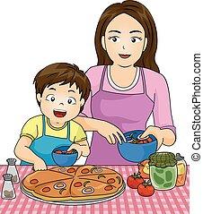 junto, criança, pizza, menino, fazer, mãe