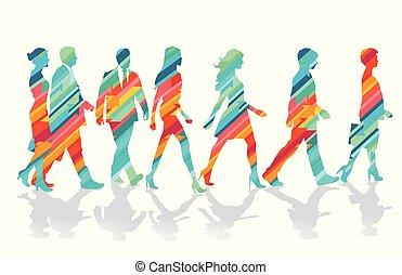 junto, grupo, ilustração, coloridos, pessoas