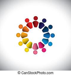 junto, ou, coloridos, tocando, também, gráfico, pessoas, vetorial, crianças, graphic., lata, representa, circle-, amizade, play-school, equipe, crianças, ícones, predios, este, abstratos, atividade, grupo, conceito, etc