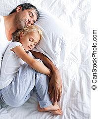 junto, pai, filha, dormir