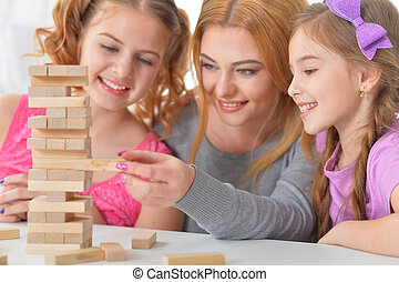 juntos, bloques, juego, familia